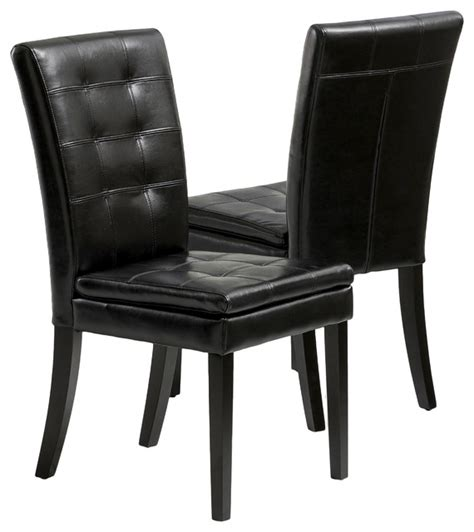 bartley black leather dining chair set of 2