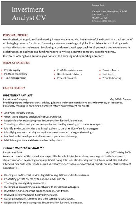 Professional Cv Exles by A Professional Two Page Investment Analyst Cv Exle Al