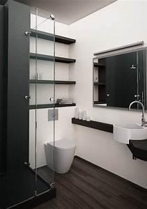 une petite salle de bain design avec une douche italienne With salle de bain design avec petit meuble sdb