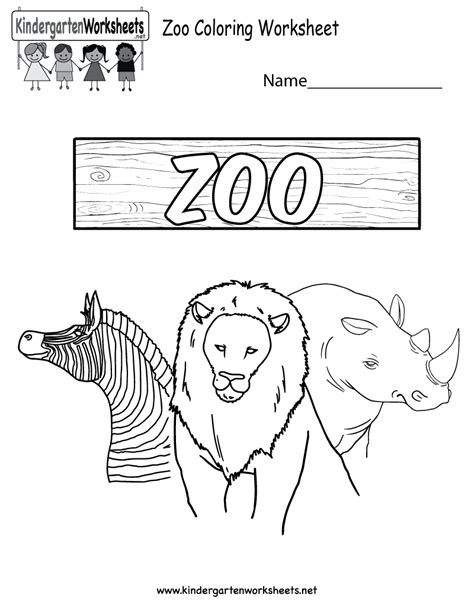 free coloring pages of zoo for kindergarten