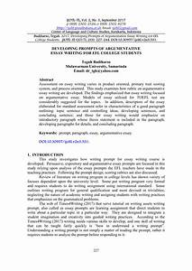 Pdf  Developing Prompts Of Argumentative Essay Writing For Efl College Students