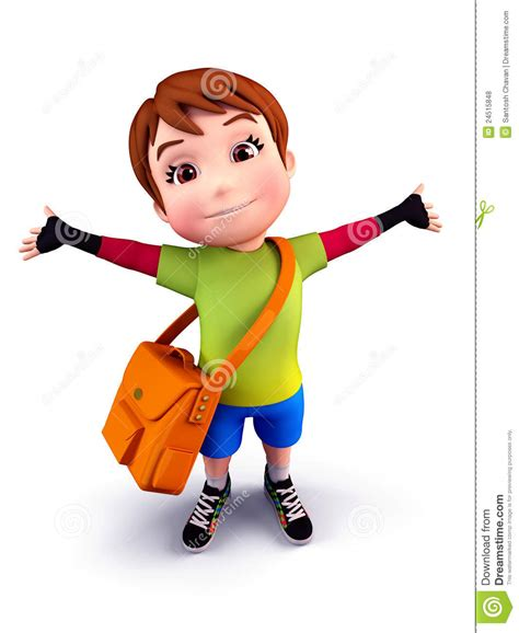 cute boy  school bag stock illustration illustration