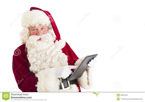 Of Santa by Portrait Of Santa Claus Using Digital Tablet Stock Images