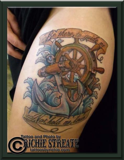 traditional anchor  ships wheel tattoo