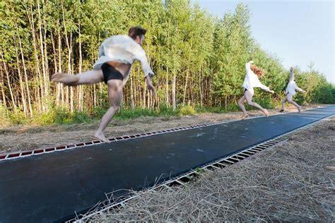 crazy russians build   long trampoline road