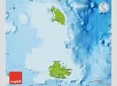 Physical Map of Antigua and Barbuda