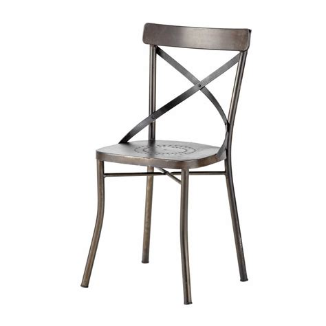 chaise de jardin en metal noir tradition maisons du monde