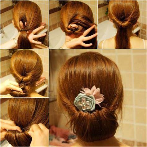 diy easy twisted hair bun hairstyle