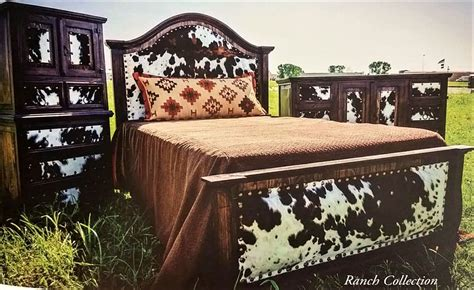 Cowhide Headboards by Cowhide Headboard Footboard Bed Set Western Furniture