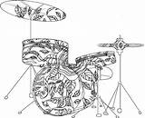 Coloring Pages Music Musical Band Instruments Sheets Drum Godzilla Adult Mandala Printable Drums Adults Bass Double Getcolorings Colouring Kiss Classical sketch template