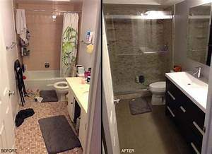 Redoing a small bathroom before and after pictures for Cost of redoing a bathroom