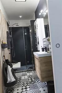 carrelage sol et mur noir et blanc effet ciment gatsby With carrelage sol et mur salle de bain