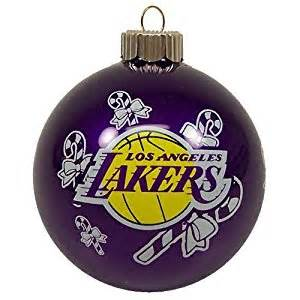 amazon com los angeles lakers official team logo glass ball christmas ornament sports fan
