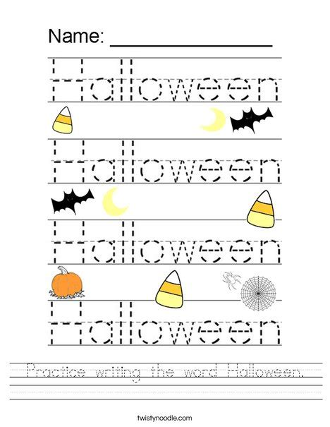 practice writing  word halloween worksheet twisty noodle
