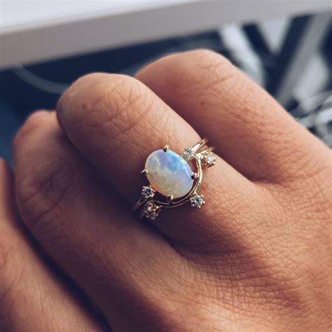 Opel Ring by Australian Opal Ring With Diamonds Bling