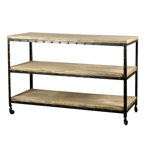 rawson reclaimed wood iron 3 tier rolling cart