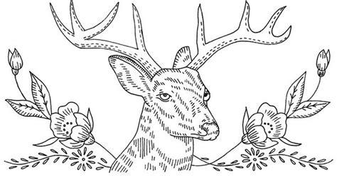vintage embroidery pattern deer  flowers embroidery
