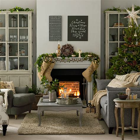 grey  taupe christmas living room decorating ideal home