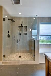 Contemporary, Shower, With, Neutral, Tile