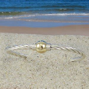 sterling silver twist cape  bracelet   gold ball