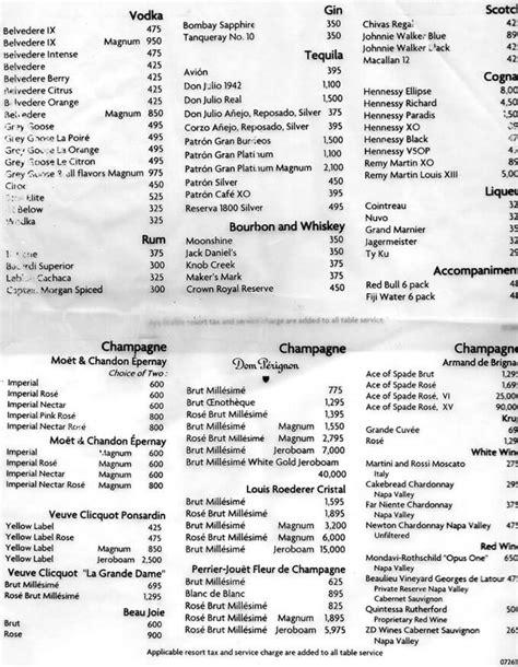 LIV Miami Drinks Menu Prices | Club Bookers
