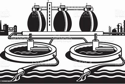 Treatment Water Plant Vector Illustration Local Wastewater