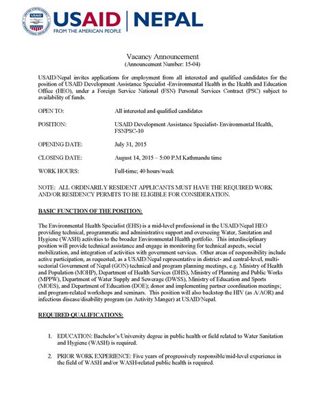 Usaid Resume Template vacancy announcement usaid development assistance specialist environmental health fsnpsc 10