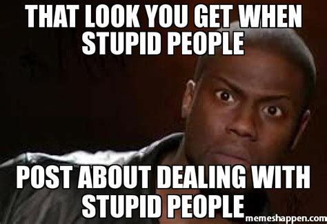 People Are Stupid Meme - that look you get when stupid people post about dealing with stupid people meme