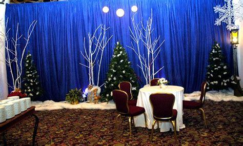 fellowship hall decor blue  walls white trees