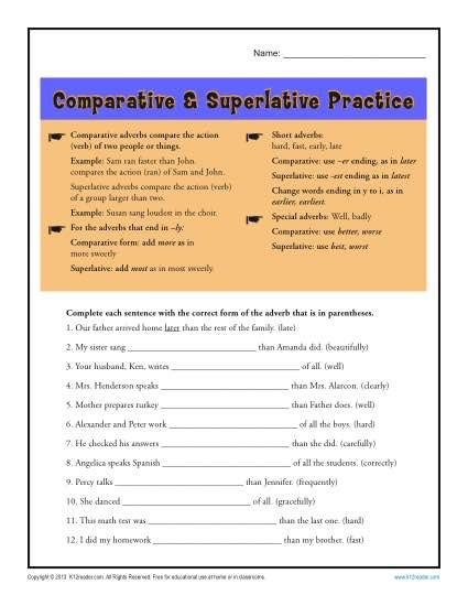 comparative and superlative adverb worksheets adverbs