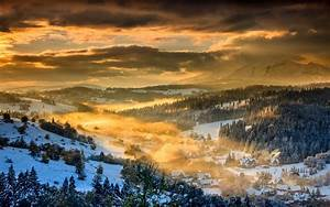 Nature, Landscape, Winter, Sunset, Forest, Mountain ...