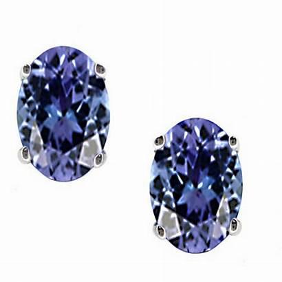 Tanzanite Stud Earrings December Birthstone Oval Cut