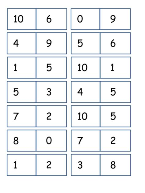 number bonds to 10 dominoes by izzyd1 teaching resources