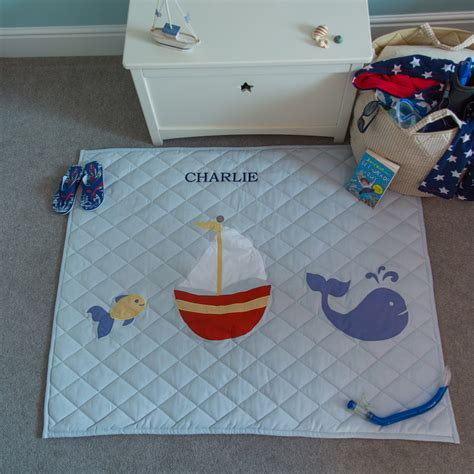 Large Nautical Themed Children's Quilted Floor Play Mat