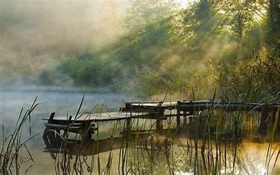 Dock Lake Water Landscape Mist Forest Sunrise