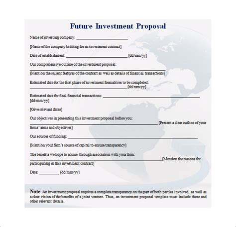 investment proposal templates