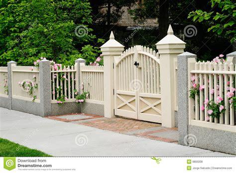 house gates and fences elegant gate and fence on house entrance royalty free stock photos image 9805008
