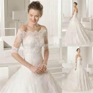 brautkleid 2 in 1 wholesale designer 2015 lace gown wedding dress with shoulder 1 2 sleeve jacket