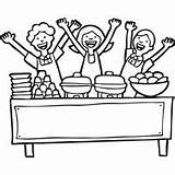 Coloring Lunch Ladies Cafeteria Surfnetkids Template Pyramid Otter Sea sketch template