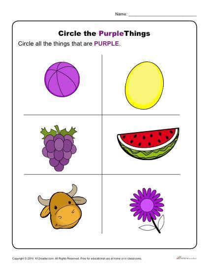 circle  purple  preschool color worksheets