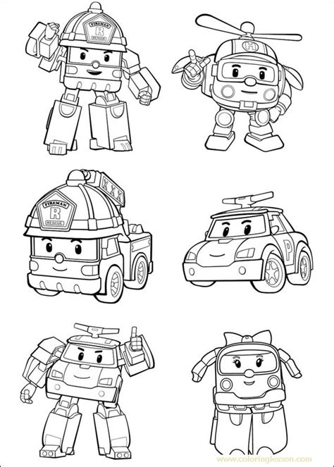 robocar poli coloring lesson kids coloring page