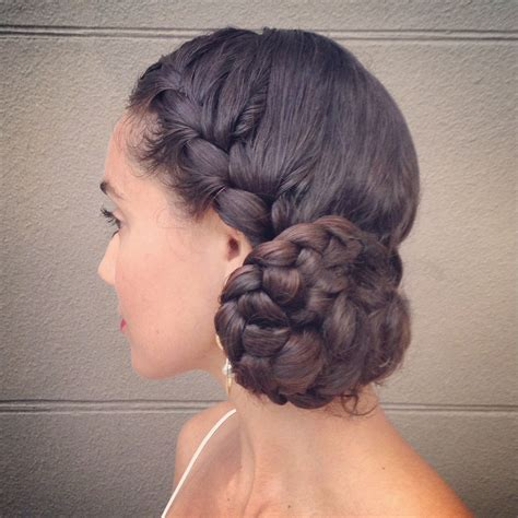 braided bun on long hair curl on a mission