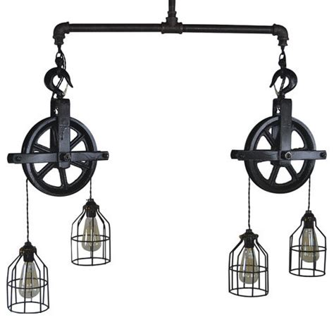 Double Barn Pulley Ceiling Light   Industrial   Pendant Lighting   by West Ninth Vintage