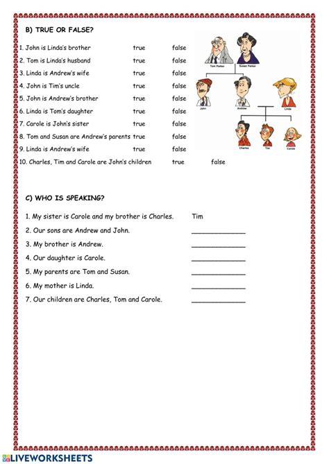 family members possessive adjectives worksheet