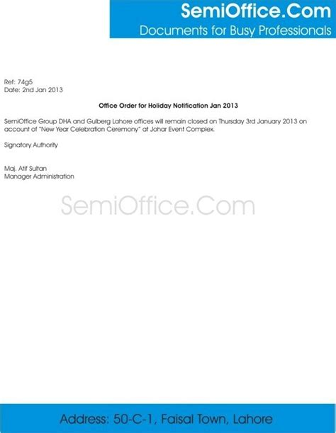 sample holiday notification letter format  office
