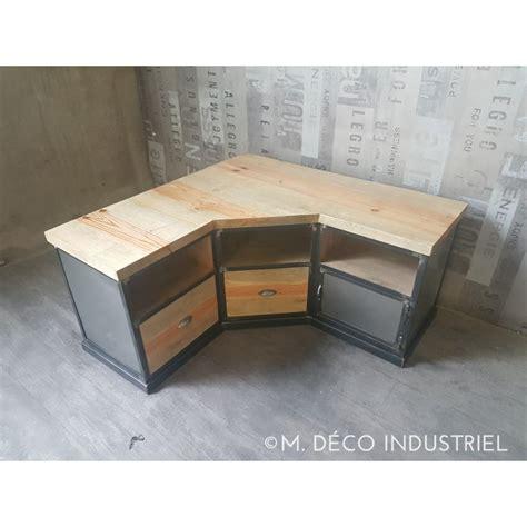 fabrication armoire cuisine meuble tv d 39 angle industriel en acier et pin massif