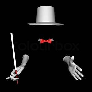 White magician hat and gloves. On black background | Stock ...