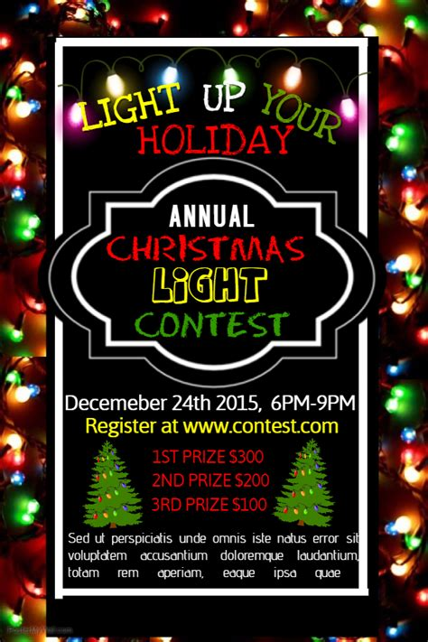 christmas lights contest poster template christmas