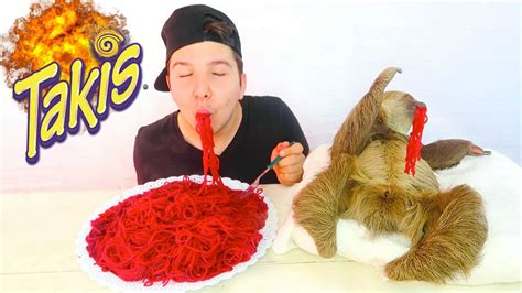 takis noodles fire sloth mukbang