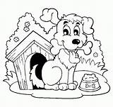 Coloring Dog Clipart Bone Happy Painting Library sketch template